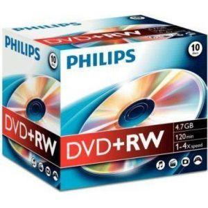 Philips DVD+RW 1-4x, 1 pièce en jewelcase