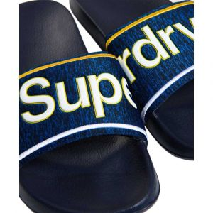 Superdry Claquettes Homme College Sliders Pool, Bleu bleu - Taille S
