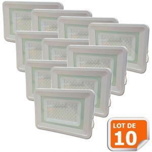 Lampesecoenergie Lot de 10 LED Projecteur Lampe 100W Blanc 6000K IP65 Extra Plat