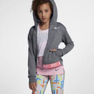 Nike Sweatà capuche de training entièrement zippé Dri-FIT Core Studio pour Fille plus âgée - Gris - Taille S - Femme