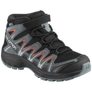 Salomon Enfant XA Pro 3D MID CSWP K, Chaussures de Randonnée, Imperméable, Noir (Black/Stormy Weather/Cherry Tomato), Taille: 28