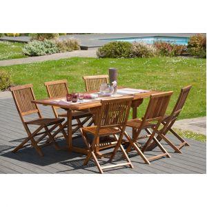 Table rectangulaire extensible en teck huilé 120 180x90 cm JARDITECK