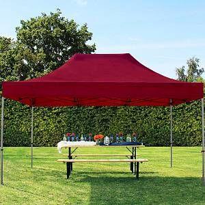 Intent24 Tente pliante tente pliable 3x4,5m - sans panneau de côté PROFESSIONAL toit 100% imperméable tente de jardin pavillon rouge.FR