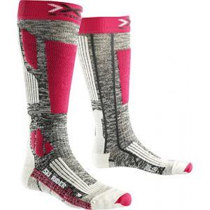 X-Socks Rider 2.0 Lady Chaussettes de Ski Femme, Grey Melange/Fuchsia, FR : L (Taille Fabricant : 39-40)