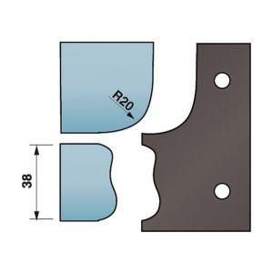 Diamwood Platinum Jeu de 2 contre-fers profilés Ht. 88 x 5 mm corniche N°5 A590.323 pour porte-outils de toupie