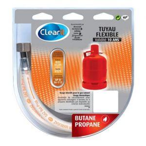 Clearit Tuyau flexible pour gaz Butane avec armature et embouts mécaniques à visser - 1 m