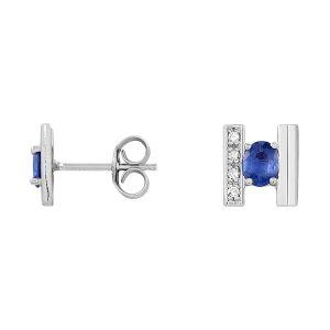 Cleor Boucles oreilles Puces en Or 750/1000 Blanc, Saphir Bleu et Diamant Femme bleu - Taille Unique