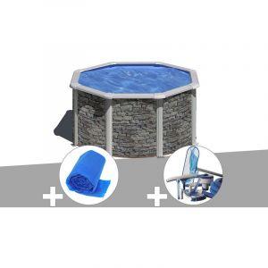 Gre Kit piscine acier aspect pierre Cerdeña ronde 2,60 x 1,22 m + Bâche à bulles + Kit d'entretien