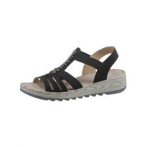 Rieker V8706 Femme Sandale à lanières,Sandales à lanières,Chaussures d'été,Confortable,Plat,schwarz/00,36 EU / 3.5 UK