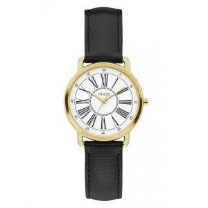 Guess Montre W1285L2 - JACKIE Boîtier acier doré brillant cadran blanc bracelet cuir noir lézard Femme