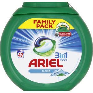 Ariel 3 en 1 Pods Alpine Lessive en Capsules 47 Lavages