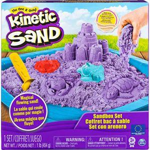 Spin Master Kinetic Sand 6024397 Jouet Enfant, Loisirs Créatifs, Coffret Château-Bac à Sable 450 g de Sable Kinetic Sand, Modèle et Couleur Aléatoire