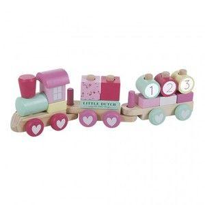 Little dutch Train à blocs rose