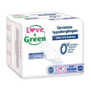 Love & Green 10 serviettes nuit hypoallergéniques
