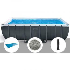 Intex Kit piscine tubulaire Ultra XTR Frame rectangulaire 5,49 x 2,74 x 1,32 m + Bâche à bulles + 20 kg de zéolite + Douche solaire