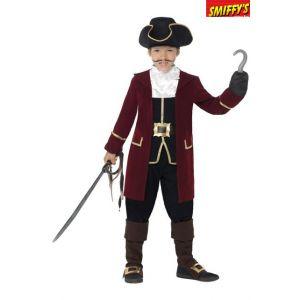 Smiffys Cost e Deluxe Capitaine Pirate, Noir, avec Veste, Gilet, Pantalon, Foulard et C
