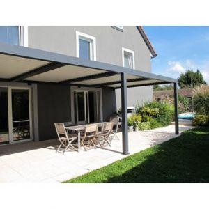 Pergola aluminium adossée Orient gris anthracite 18 m²