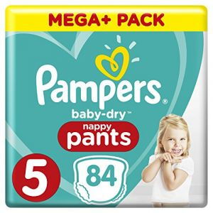 Pampers Couches Baby Dry Pants T. 5 Mega Plus Pack 12-18 kg, 84 pièces