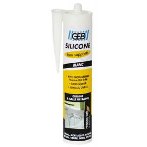 Geb Mastic sanitaire - silicone pour tous supports - blanc - 280 mL