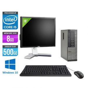 Dell Optiplex 7010 SFF + Ecran 19'' - Intel Core i5-3470 / 3.20 GHz - RAM 8 Go - HDD 500 Go - DVDRW - GigaBit Ethernet - Windows 10 Professionnel