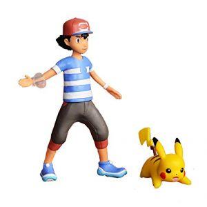 Bandai POKEMON - Figurines à fonctions 12 cm Pikachu et Sacha