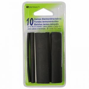 Zenitech 10 gaines thermorétractables blanc/noir, L.0.08m, Diam.De 3.2 à 12.7mm