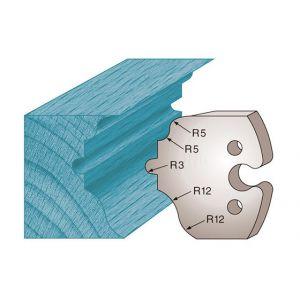 Diamwood Platinum Jeu de 2 fers profilés Ht. 50 x 5,5 mm moulure style M256 pour porte-outils de toupie