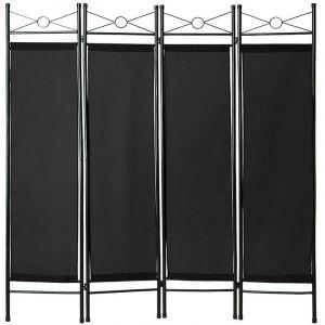 TecTake Paravent, Séparation de pièces, Cloison amovible, 4 Panneaux Pans en Toile Polyester 180 cm x 160 cm x 2,5 cm Noir