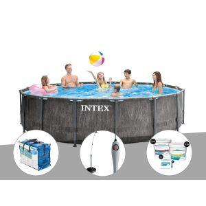 Intex Kit piscine tubulaire Baltik ronde 5,49 x 1,22 m + Bâche à bulles + Douche solaire + Kit de traitement au chlore