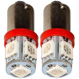Aerzetix : 2x ampoule T4W T5W BA9s 12V 5LED SMD rouge éclairage intérieur plaque d'immatriculation seuils de porte plafonnier pieds lecteur de carte coffre compartiment moteur