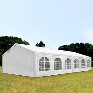 Intent24 Tente Barnum de Réception 5x12 m PE Bâches Amovibles 200-240 g/m² BLANC / Jardin Tonnelle Pavillon Chapiteau .FR