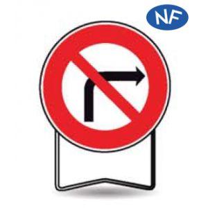 Taliaplast 524004 - Panneau signalisation prescription b2b interdit à droite t1 850mm
