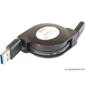 Cordon USB 3.0 type A/microUSB m/m rétractable 1 m