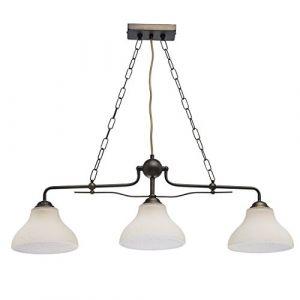 MW-Light 673012203 Suspension Antique Style Rustique en Métal Brun Patiné en Bronze 3 Abat-jours en Verre Blanc Mat pour Salon Salle à Manger Eclairage Table 3x60W E27