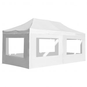 VidaXL Tente de réception pliable avec parois Aluminium 6 x 3 m Blanc