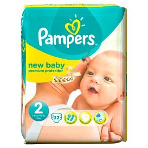 Image de Pampers New Baby taille 2 Mini (3-6 kg) - 32 couches