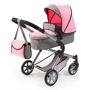 Bayer Landau pour poupée Neo Star gris et rose avec sac à bandoulière et panier d'achat intégré réglable - convertible poussette