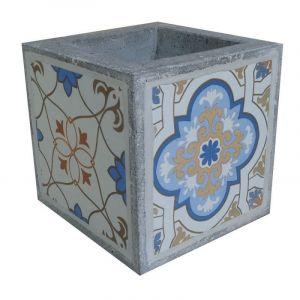 Ma Maison Mes Tendances Cache-pot carré en carreaux de ciment bleu et gris 23cm EVORA - L 23 x l 23 x H 23