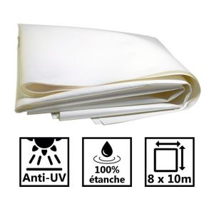 Toile de toit pour tonnelle et pergola 680g/m² blanche 8x10m PVC