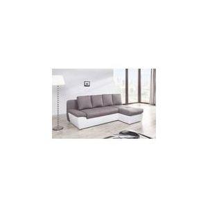 Relaxima Canapé d'angle à droite convertible Denfert avec 2 coffres en tissu et simili
