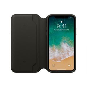 Apple Étui Folio en cuir Noir iPhone X