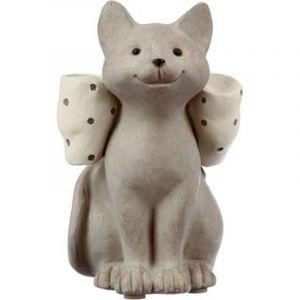 """Statue Chat en Résine """"Nœud"""" 14cm Beige rix"""