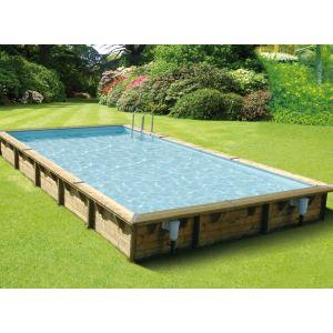 Ubbink Linéa - Piscine rectangulaire hors sol en bois 800 x 500 x 140 cm