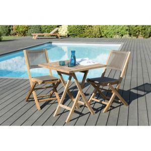 Macabane 1 table carrée pliante 70 x 70 cm - Lot de 2 chaises pliantes en textilène, couleur taupe - 1 table carrée pliante 70 x 70 cm- Lot de 2 chaises pliantes en textilène, couleur taupe