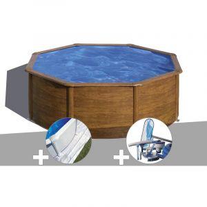 Gre Kit piscine acier aspect bois Sicilia ronde 3,70 x 1,22 m + Tapis de sol + Kit d'entretien