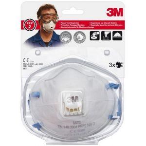 3M 8822 Lot de 3 Masques respiratoires filtrant coque avec soupape contre particules irritantes