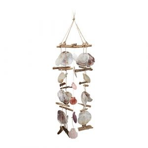 Relaxdays Carillon à coquillages bois flotté mobile coquillages guirlande Décoration à suspendre, coloré