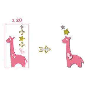 Image de Toga Pack de 20 Formes découpées Girafes - Rose, vert et taupe
