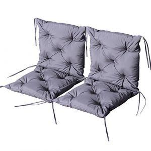 Outsunny Lot de 2 coussins matelas assise dossier 2 en 1 pour chaise fauteuil grand confort 98L x 50l x 8H cm gris