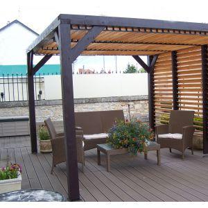 Habrita Auvent VENETO ventelles réglables sur toit et mur - 10,81 m²